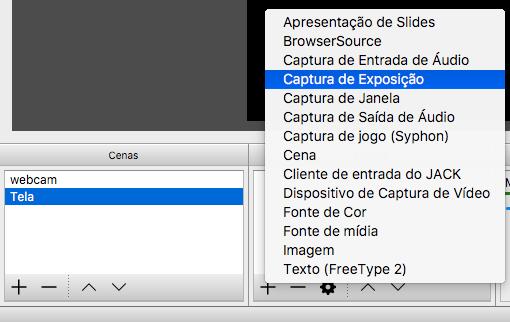 Adicionando compartilhamento de tela no OBS Studio