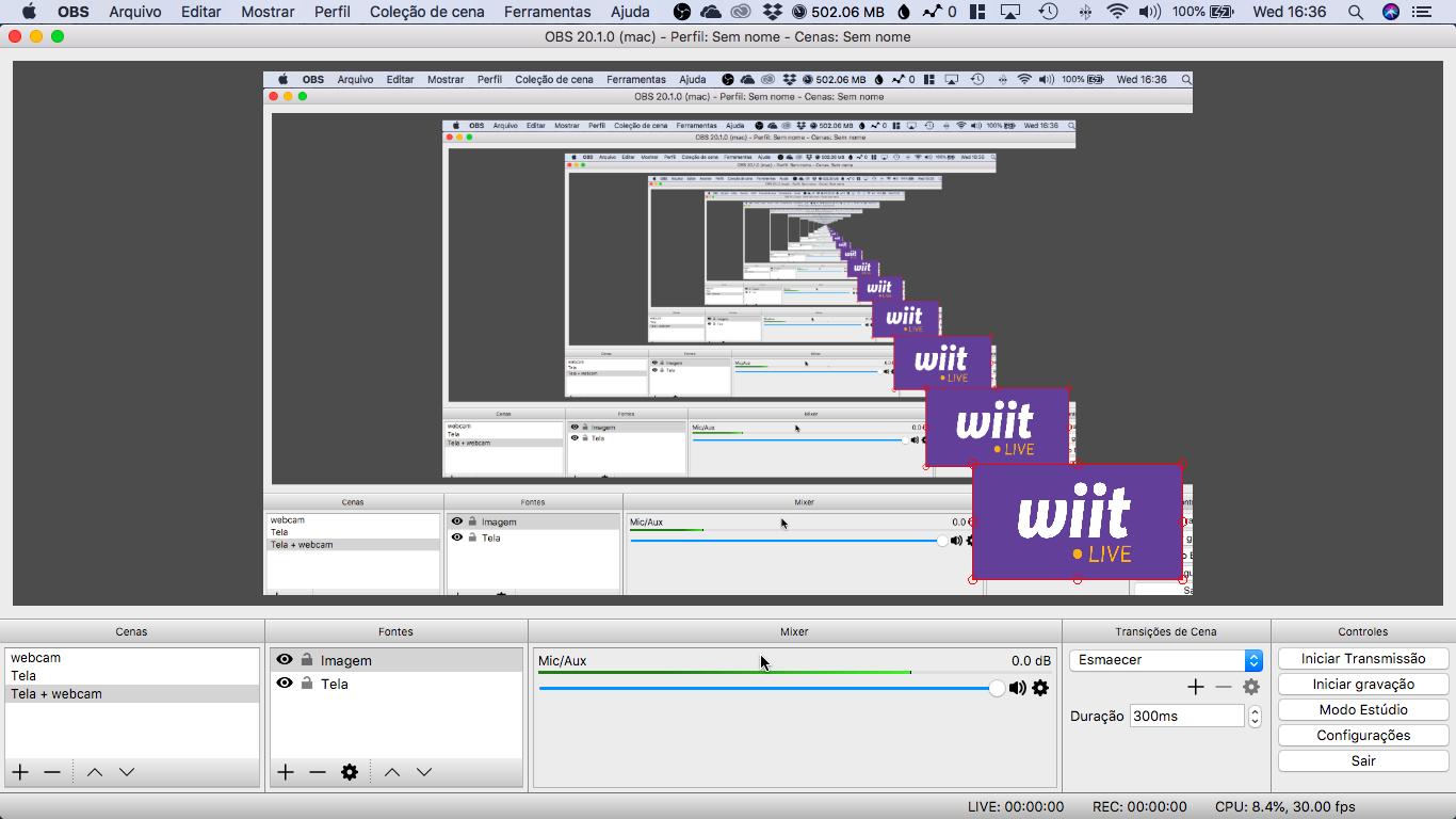 Tela do OBS Studio configurado para transmissão da wiit.live